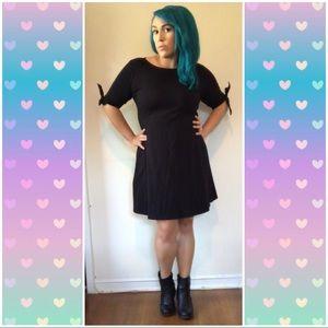 ASOS Black Mini Skater Dress with Bow Sleeves 14